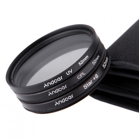 Andoer 52mm Filter Set UV Filter + CPL Filter + Star Filter Kit with Case
