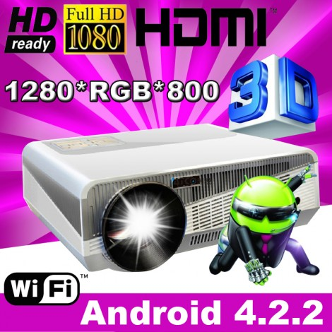 Brightest 5500lumens Full HD 1080P Android 4.2 Wifi 3D LED LCD Projector
