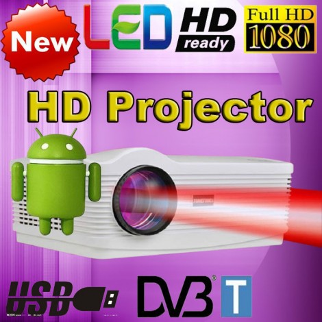 Android 4.4 Wifi Led 3D Projector 1080P Full HD 5500 Lumens DVBT Digital TV