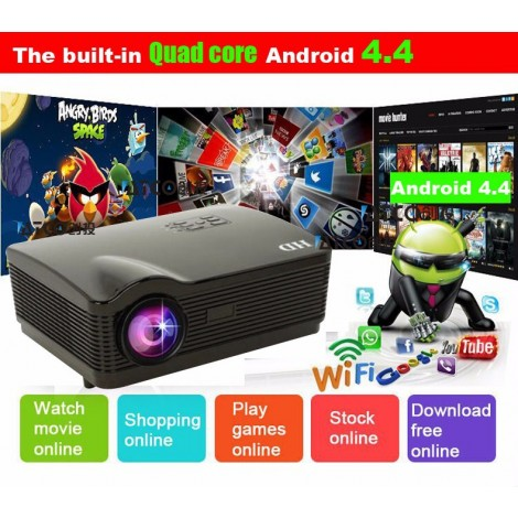 ATCO 5500Lumens Quad core Android 4.4 WiFi 1080P 3D Full HD LCD Home theater TV LED Projector