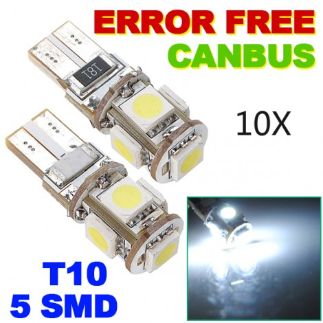 Canbus T10 194 168 W5W 5050 5 LED SMD Car Side Wedge Light Bulb 10pc Set