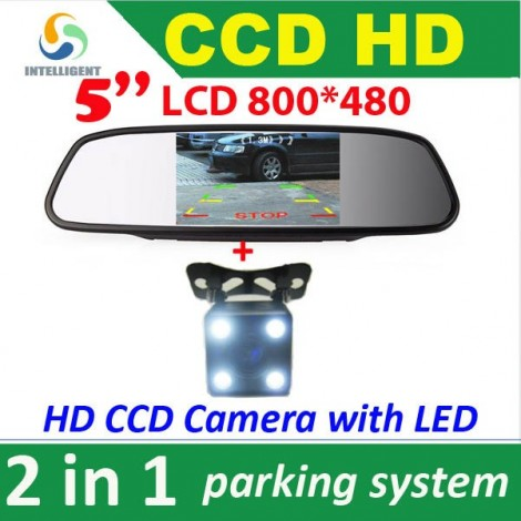 "HD CCD car rear view camera + 5"" HD Car Mirror Monitor"