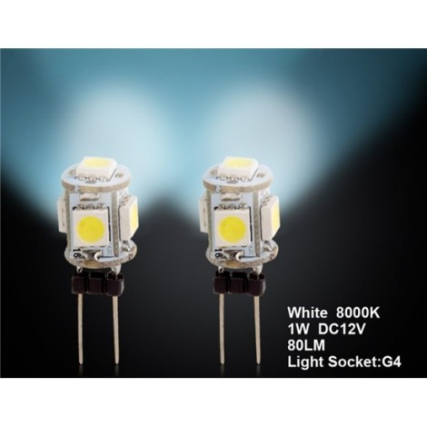 G4 5 x 5050 White Car LED Light 2pc Set