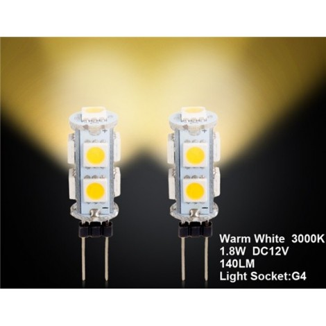 G4 9 x 5050 Warm White Car LED Light 2pc Set