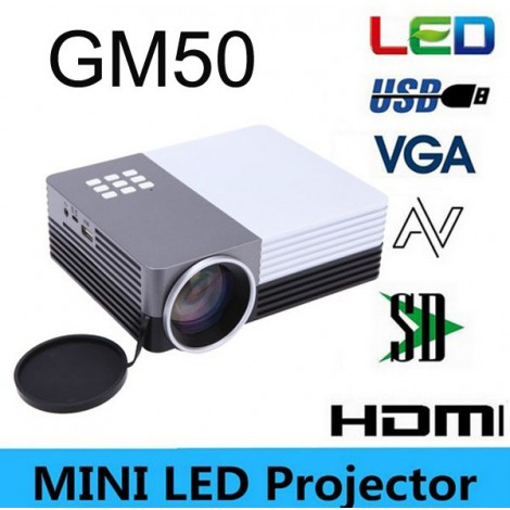 Portable 3D Mini Led Digital Projector GM50 80Lumens For Video Games TV Movie USB VGA HDMI AV