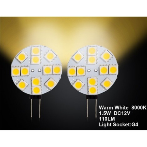 G4 24 x 3528 Warm White Car LED Light 2pc Set
