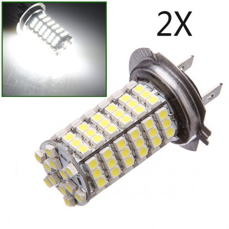 H7 Car 120 LED 3528 SMD Xenon White Fog Driving Head Light Lamp Bulb 2pc