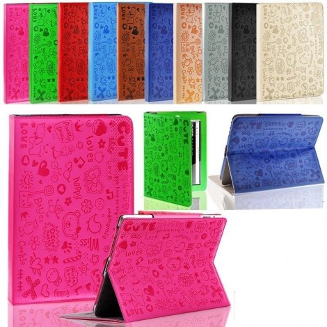 Cute Cartoon Magnetic iPad 2 3 4  Leather Case Cover