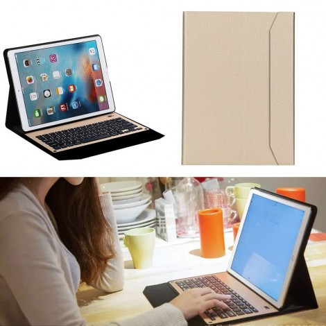 Aluminium Bluetooth Keyboard With Stand leather Case Cover For iPad Pro 12.9