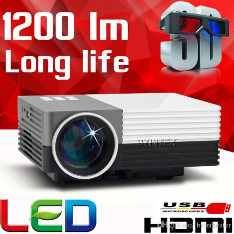 Mini HDMI VGA USB Video 1200 lumens LED 3D Home Theater LCD Portable HD 1080P Projector