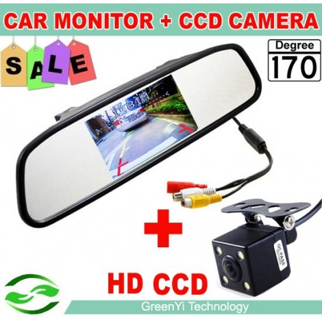 Night Vision Car Rear View Camera With 4.3 inch Car Rearview Mirror Monitor