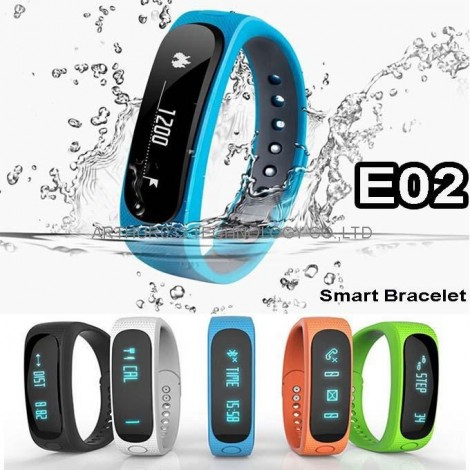 E02 Bluetooth SmartBand Smart Wristband Waterproof Bluetooth Fitness Tracker Smartwatch