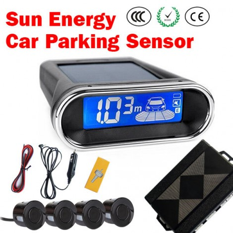 Solar Power Wireless Rear View LED Display 4 Parking Sensors Car Reversing Kit