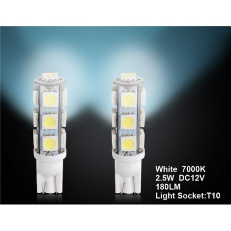 T10 13 x 5050 White Car LED Light 2pc Set