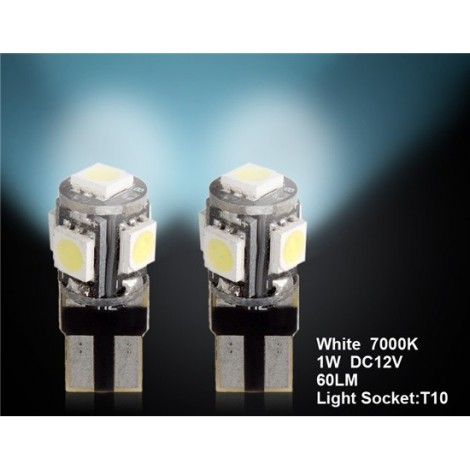 T10 5 x 5050 Decoded White Car LED Light 2pc Set