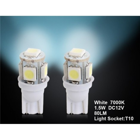 T10 5 x 5050 White Car LED Light 2pc Set