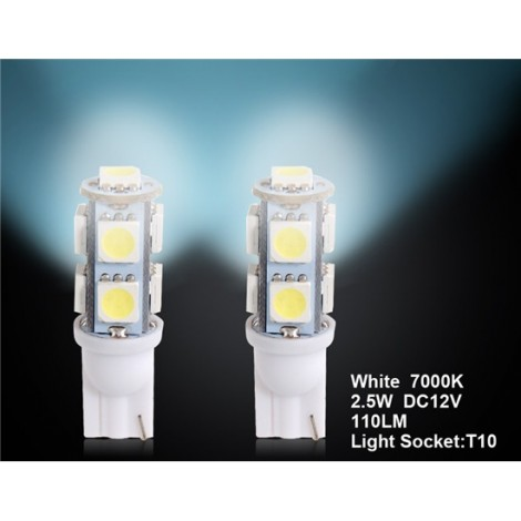 T10 9 x SMD 5050 LED Warm White Car Side Light/Signal/Reading lamp  2pc Set
