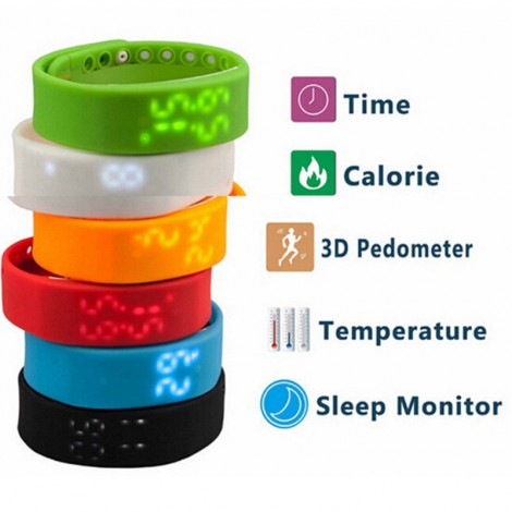 W2 Smartband Slim Smart Bracelet USB 3D Pedometer Sleep Temperature Calorie Monitor