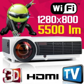 Android OS WIFI HDMI USB Portable 1080P Home Theater 3D LED Projector TV tuner