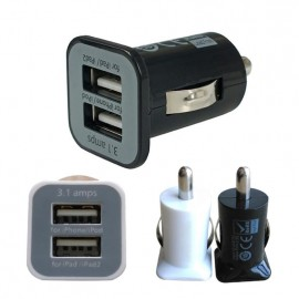 Dual 2 Port USB Car Charger For iPhone iPad iPod 3.1A FMHM109