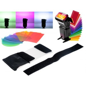 Flash 12 Colors Card Diffuser Lighting Gel Pop Up Filter Kit for Camera