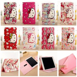 3D Cute HelloKitty Cat Flip Leather Case Wallet Cover Smart For Apple iPad Tablet PC