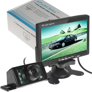 "Night Vision Car Rear View Camera Kit & 7"" LCD Monitor Mirror Reversing"