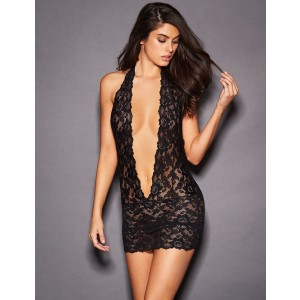 Valentines Day lace Deep V Collar Chemise Dress