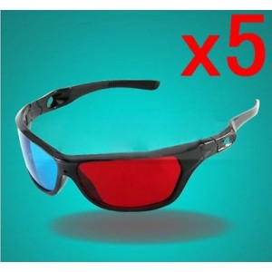Black Frame Red Blue 3D Glasses For Dimensional Anaglyph Movie Game DVD x 5