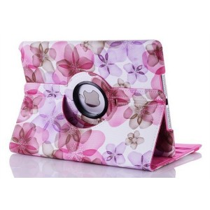 flower girl's 360 rotate leather case cover for ipad 2/3/4//Air/mini
