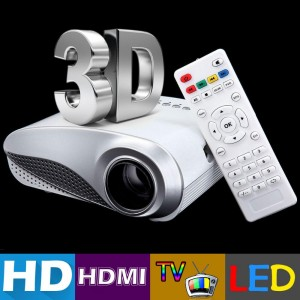 H60 3D Portable LED Projector HD 1080P LCD  60 Lumens Supports HDMI USB VGA IR SD Card