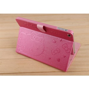 Cartoon kitty cat Leather Folio Clip Stand Smart Case for Apple iPad air 2 /iPad Air