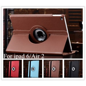 For iPad Air 2 Case 360 Degree Rotating Solid PU Leather Stand Flip Folio Cover