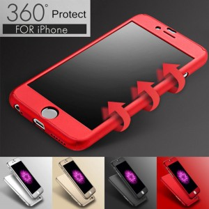 For iPhone 6 6S 7 Plus 360° Thin Hard Acrylic Case+Tempered Glass Cover