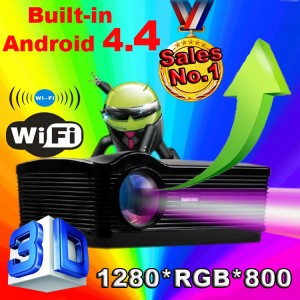 LED HD 1080 HDMI Projector ATCO Android 4.4 WIFI 4500Lumens Home Theater