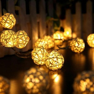 Rattan Balls LED String Garland Lights For Christmas Party Decoration Prop