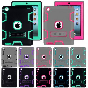 Shockproof Heavy Duty Rubber With Hard Stand Case For iPad