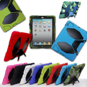 Defender Heavy Duty Cover Shockproof Rubber Case with Stand for Apple iPad