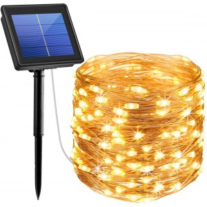 LED Solar String Lights 200 LEDs Copper Wire Fairy Outdoor Waterproof