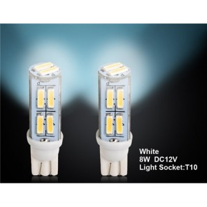 T10 8W 14 x 7014SMD White Car LED Reading Light, Tail Light, Clearance Light 2pcs Set