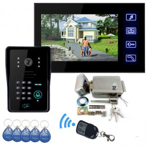 "7"" LCD Wire Video Door Phone with Magnetic lock + RFID keyfobs"