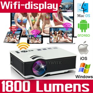 Wireless 1800lumens Full HD 1080P Home Theater Mini Multimedia Wifi 3D LED Projector